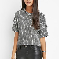 Frayed Two-Tone Knit Top