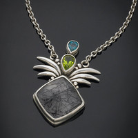 One of a Kind Sterling Silver Tourmilated Quartz Pendant