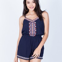 Strappy Embroidered Romper