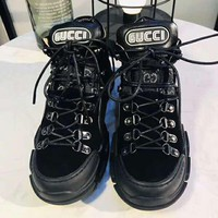 Gucci High Quality Fashion Women Men Personality Sport Shoes Sneakers Martin Boots Black