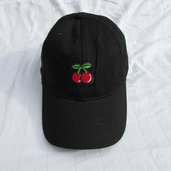 Casual Black Baseball Hat With Cherries On The Front