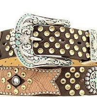 Ariat Women's Western Rhinestone Croc Print Brown Leather Belt
