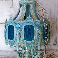 Hanging chandelier swag lighting ornate vintage blue metal glass whimsical rare piece Anita Spero