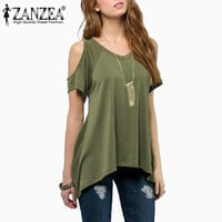 Zanzea Summer Style 2016 Women Casual Loose Tops Off Shoulder Shirts Off Shoulder Round Neck Short Sleeve Blouses Plus Size 5XL