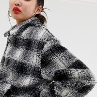 New Look brushed check teddy borg coat in black | ASOS