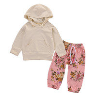 New 2016 fashion baby clothes baby clothing set Baby Girls Long Sleeve T-shirt+Pants Leggings Outfits Hooded 2PCS Clothes Set