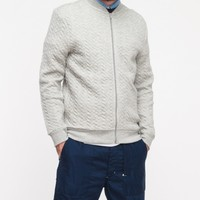 Topman Grey Mini Cable Quilted Bomber