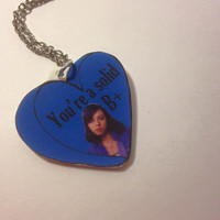 """Aubrey Plaza """"You're a Solid B+"""" Parks and Recreation Quote Acrylic Charm 18 Inch Silver Necklace"""