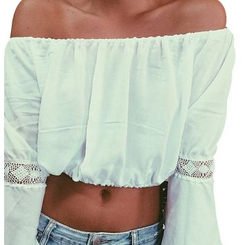 New women's T-shirt sexy one-neck loose lace stitching long-sleeved top
