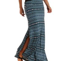 Blue Combo Aztec Print Double Slit Maxi Skirt by Charlotte Russe