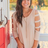 Taupe Knit Top with Cut Out Sleeve Detail