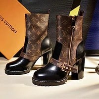 LV Louis Vuitton Hot Sale Women Fashion Leather Heels Shoes Boots