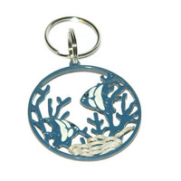 Blue Keyring With Fish, Pull For Large Zippers, Accessories For Beach