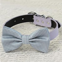 Gray bow tie Dog Collar, Black Gray Brown Ivory Champagne Copper Gold or white Leather dog collar, Puppy bow tie, XS to XXL collars and bow , Wedding dog collar