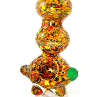 Extra HEAVY Unique Rasta Blended Rainbow Glass Spoon Smoking Pipe Free Standing Design