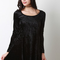 Velvet Long Sleeve Skater Dress