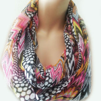 Geometric print Scarf Multi Colored Scarf, Infinity Scarves Cheap Gift Scarfs