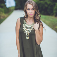 Casual Shift Dress in Olive