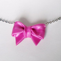 PINK RIBBON / bow tie - necklace