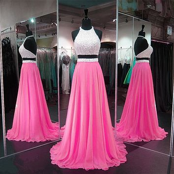 Two Pieces Prom Dress Beaded Bodice, Prom Dresses Long, Evening Dress, Pageant Dress, Back to School Party Dress, CD0034