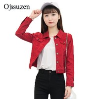 Fashion Spring Denim Jacket Women Slim Short Jeans Outwear White Red Female Jackets Basic Ladies Coat Jeans Jaqueta Feminita