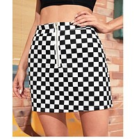 2020 new women's black and white grid slim skirt