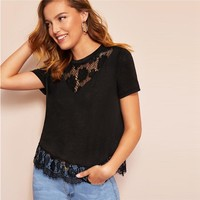 Eyelash Contrast Lace Hem Embroidered Floral Sheer Plain Tee Modern Lady Round Neck Women Top Tees