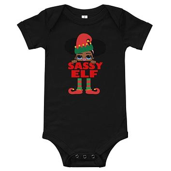 Sassy Elf Infant Afro Puffs Baby Onesuit Bodysuit African American Family Christmas