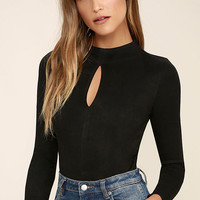 Mink Pink Feel Again Black Suede Bodysuit