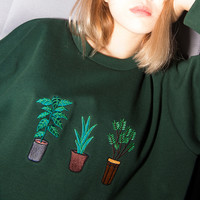 Potted plant embroidery loose section long-sleeved sweatshirt