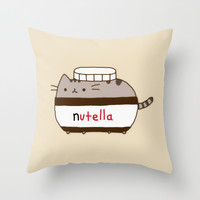 Nutella Cat Throw Pillow by Marvin Fly