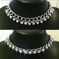 Rhinestone and silver spike Chain Choker Curb Necklace