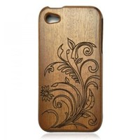 Wood iPhone4/4s Case- Hand Carved Flower