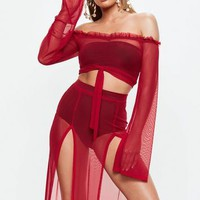 Missguided - Red Mesh Bardot Tie Front Top