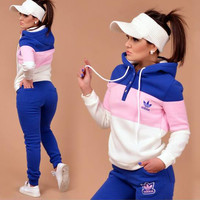 Adidas Fashion Multicolor Sport Gym Pants Hoodie Set Two-Piece Sportswear