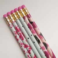 Set of 6 Pencils, Pink Pencils, Pink Flower Pattern, Polka Dot Pattern, Back to School, Journaling, Writing, Girly Pencils,Teachers,Supplies