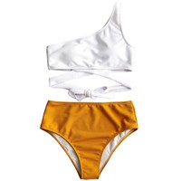 Women One Shoulder Two Tone Bikini Set High Waisted Knot Swimsuit Biquinis Female Bandage Contrast Color Bathing Suit Swimwear