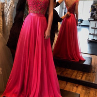 Sexy 2016 Prom Party Dresses pleats Plus Size Beading Lace Scoop Evening Vestidos de noche A-Line Prom Dresses Appliques