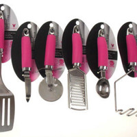 Set 8 Pink Cozy Grip Kitchen Utensil Starter Set Stainless Steel Vanderbilt Home