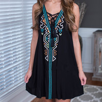 Black  Embroidered  Tank Dress