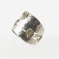 Sterling Silver Two Tone Spiral Ring