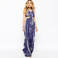 Printed Sleeveless Halter Cutout Maxi Dress
