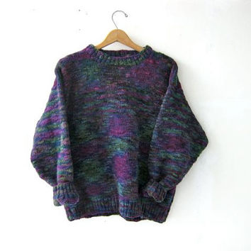 70s thick knit sweater. chunky sweater. purple green blue.