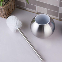 New Stainless Steel Toilet Bowl Brush Holder Set Silver Bathroom Cleaning Tool Toilet Brush Holder With Base Bathroom Product