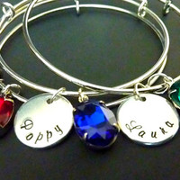 Mother's bracelet Grandma Personalized Stacked Bracelet Expandable Hand stamped Jewelry