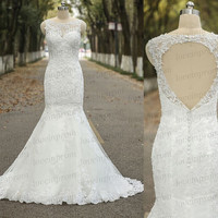 100% Handmade Tulle Lace Wedding Dress,Sexy Mermaid Lace Wedding Dress,White/Ivory Cap Sleeve Lace Bridal Gowns