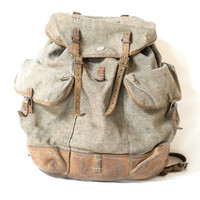 SWISS ARMY 1945 BACKPACK, Extra Large Alpine Rucksack, Military Leather, Canvas Bag, 'Salt & Pepper', Rugged Men's Bag, Fishing, Hiking