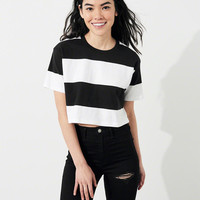 Girls Stripe Crop Boyfriend T-Shirt | Girls 40% Off Throughout the Site | HollisterCo.com