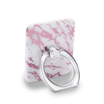 White Marble Pink Chrome Phone Ring