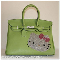 Hermes Birkin Rhinestone Hello Kitty Green Leather Handbag 35cm